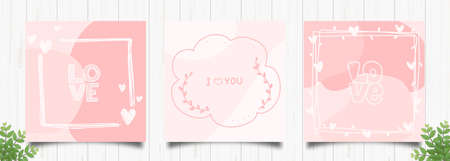 Set of elegant pink romantic cards in pastel colors Hand drawn