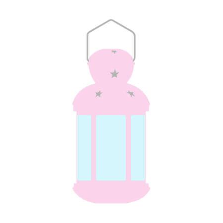 Vintage lantern with candle, old glowing lamp. Detailed kerosene light equipment, illumination instrument. Vector illustration isolated on white background