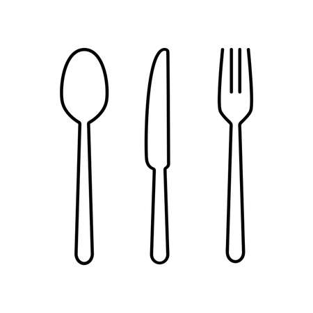 Fork, spoon and knife for eat in restaurant. Kitchen tools icon set. Stock illustration isolated on white background Archivio Fotografico