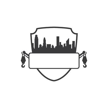 vector illustration logo design shield skyline and towing