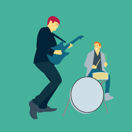 vector illustration of two men playing music with guitars and drums Çizim