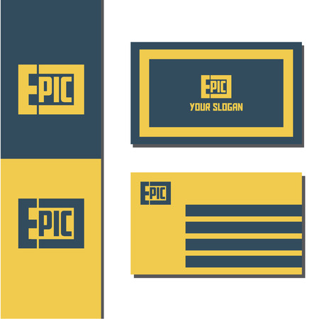 Vector illustration epic logo with business card design