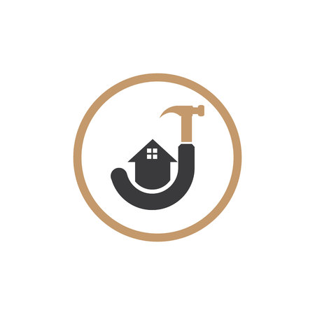 logo letter j icon with hammer and house illustrations