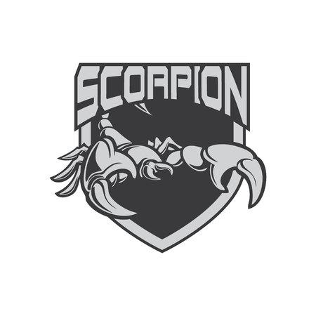 ilustración, escorpión, icono, e, deporte, logotipo, con, escudo
