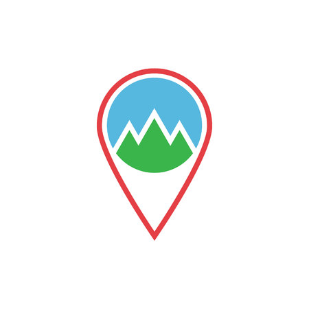 illustration location and mountain flat icon. abstract flat nature icon