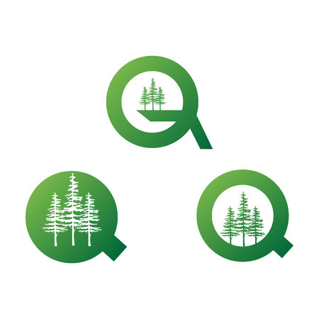 illustration modern letter q and three pine trees green color set