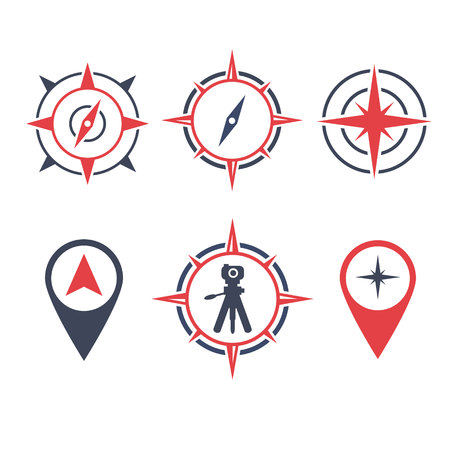 vector illustration survey land logo icon with location compass and camera