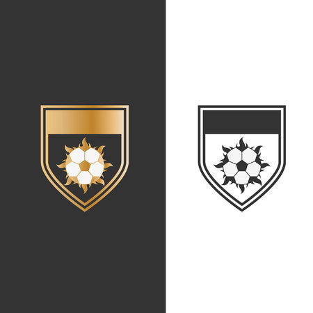 vector illustration shield fire and ball for sport icon logo design