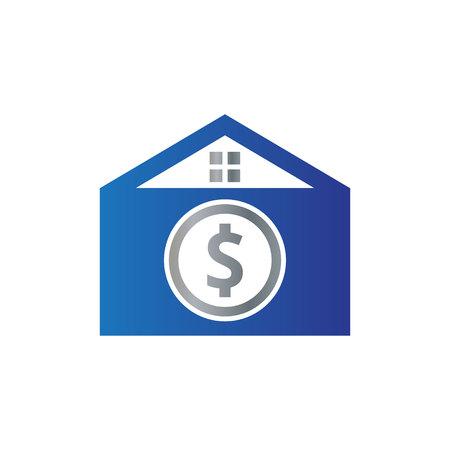 vector illustration home envelope and dollar icon logo design