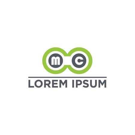 vector illustration letter m c and circle icon logo design Illustration
