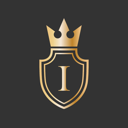 vector illustration shield crown and letter icon logo design
