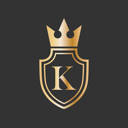 ilustración vectorial escudo corona y letra icono diseño de logotipo Logos