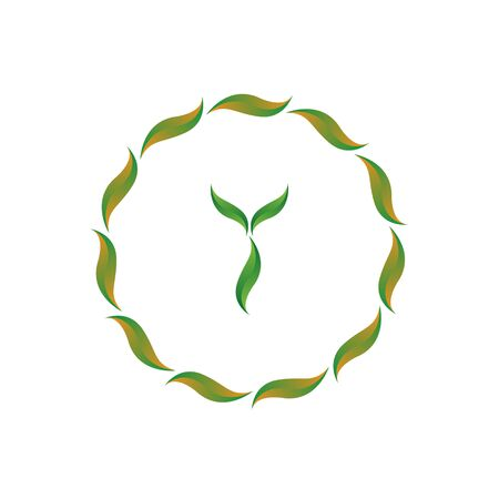 vector illustration letter y with leaf and circle nature icon logo design green color