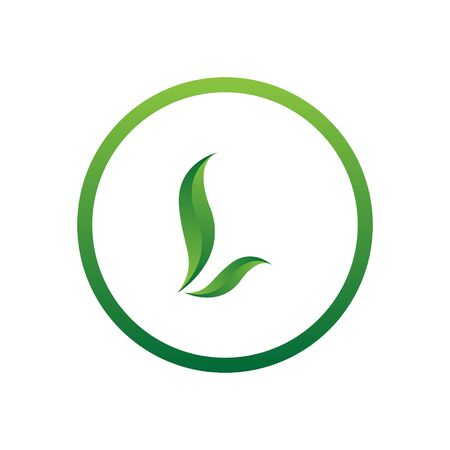 vector illustration letter l with leaf and circle nature icon logo design green color Ilustração