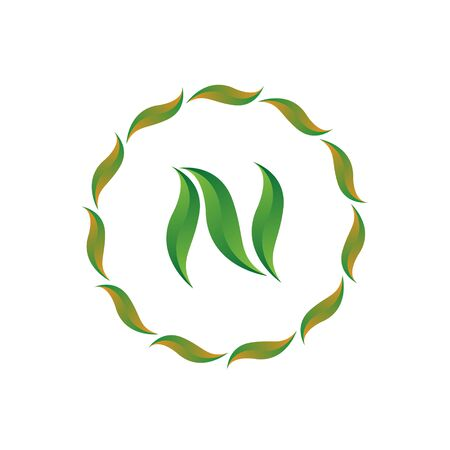 vector illustration letter n with leaf and circle nature icon logo design green color Ilustração