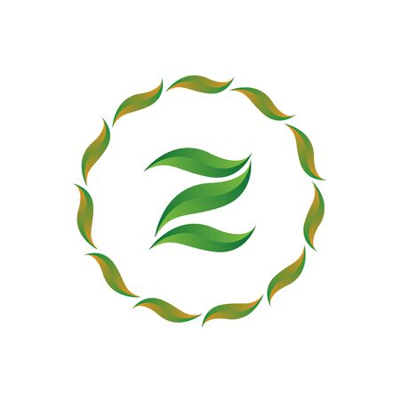 vector illustration letter z with leaf and circle nature icon logo design green color Ilustração