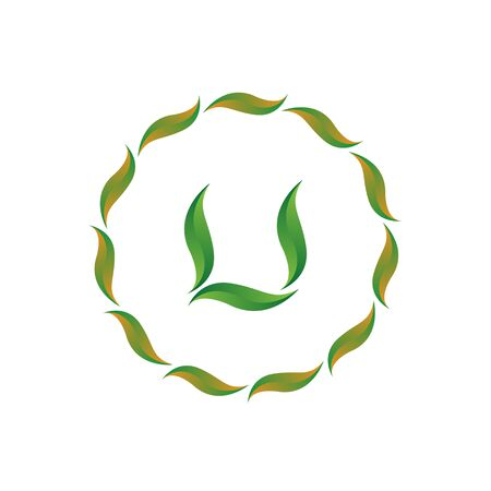 vector illustration letter u with leaf and circle nature icon logo design green color