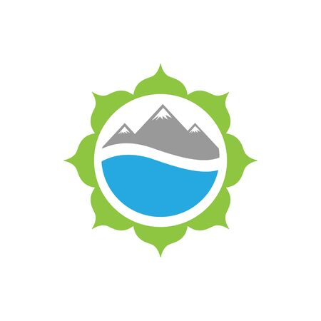 vector illustration flower mountain and water for nature icon logo design