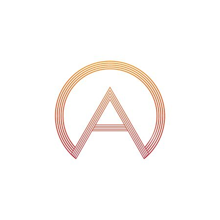 vector illustration letter a and circle line icon logo design Ilustração