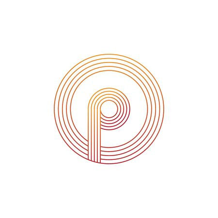 vector illustration letter p and circle line icon logo design Ilustração