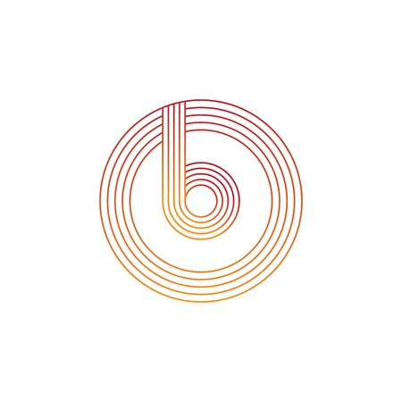 vector illustration letter b and circle line icon logo design
