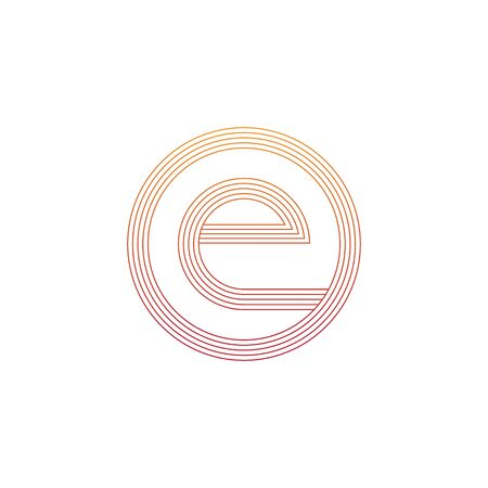 vector illustration letter e and circle line icon logo design