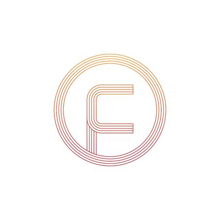 vector illustration letter f and circle line icon logo design