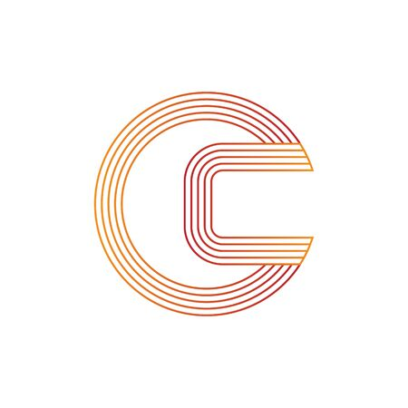 vector illustration letter c and circle line icon logo design