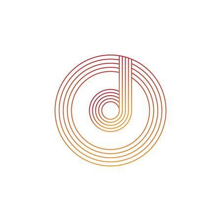 vector illustration letter d and circle line icon logo design