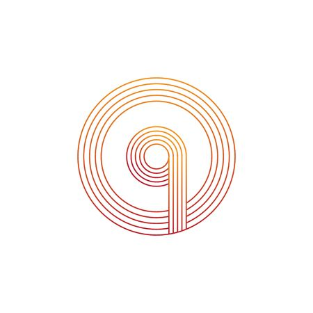 vector illustration letter q and circle line icon logo design