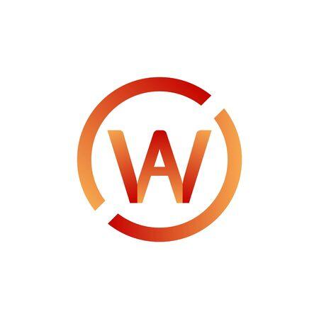 Vector illustration lettre w et a avec création de logo icône cercle