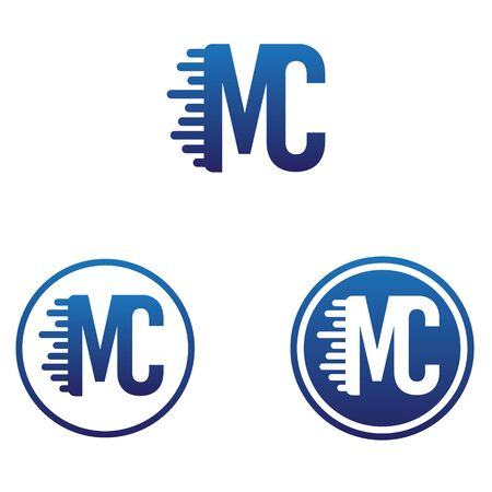 vector illustration letter m and c with circle icon logo design
