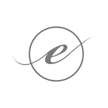 vector illustration simple elegant Initial Letter type e beauty logo with circle sign symbol Icon