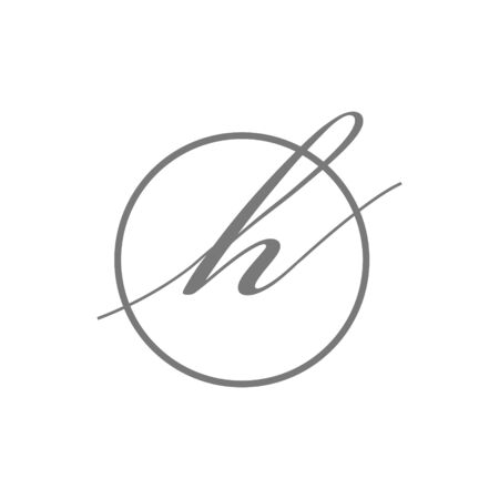vector illustration simple elegant Initial Letter type h beauty logo with circle sign symbol Icon