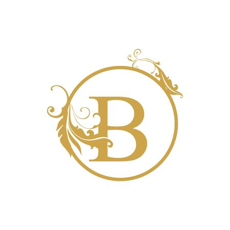 vector Initial b letter luxury beauty flourishes ornament monogram wedding icon logo vintage
