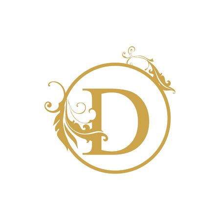 vector Initial d letter luxury beauty flourishes ornament monogram wedding icon logo vintage