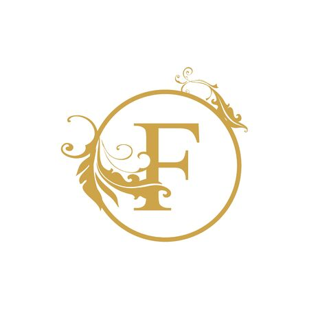 vector Initial f letter luxury beauty flourishes ornament monogram wedding icon logo vintage