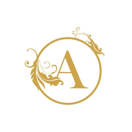 vector Initial a letter luxury beauty flourishes ornament monogram wedding icon logo vintage