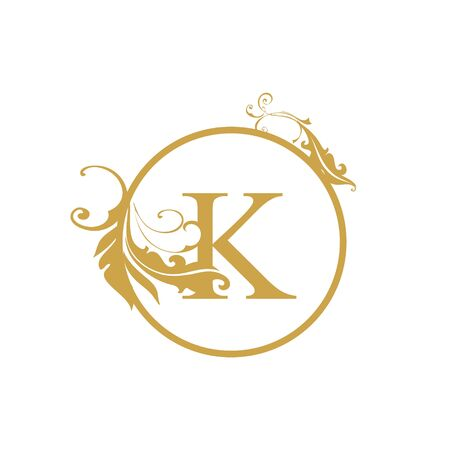 vector Initial k letter luxury beauty flourishes ornament monogram wedding icon logo vintage Ilustração