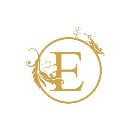 vector Initial e letter luxury beauty flourishes ornament monogram wedding icon logo vintage
