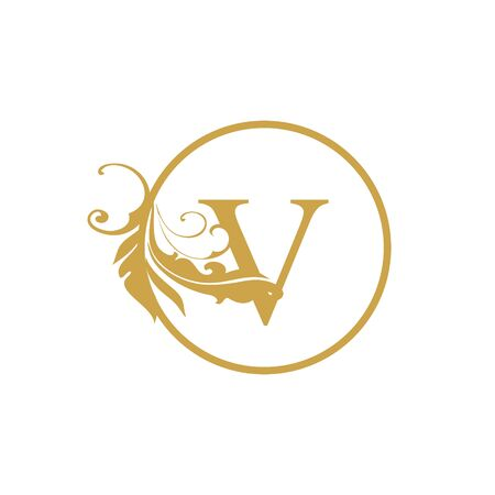 vector Initial v letter luxury beauty flourishes ornament monogram wedding icon logo vintage with circle