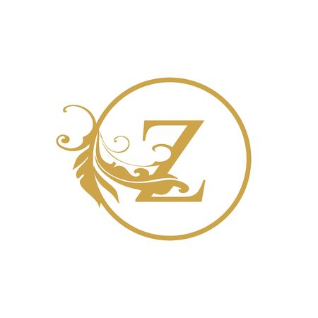vector Initial z letter luxury beauty flourishes ornament monogram wedding icon logo vintage with circle