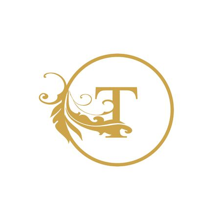 vector Initial t letter luxury beauty flourishes ornament monogram wedding icon logo vintage with circle