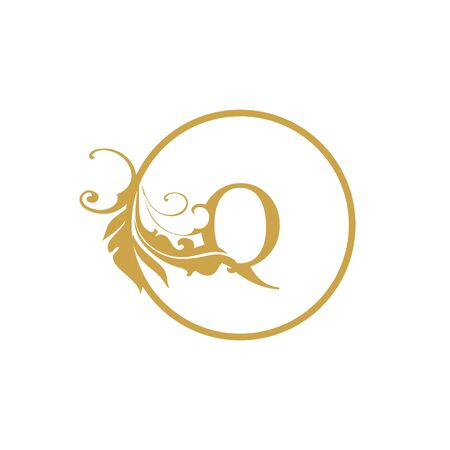 vector Initial q letter luxury beauty flourishes ornament monogram wedding icon logo vintage with circle
