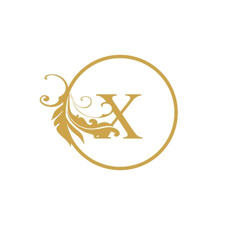 vector Initial x letter luxury beauty flourishes ornament monogram wedding icon logo vintage with circle