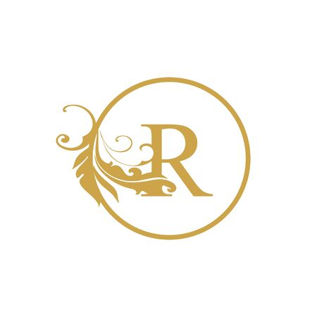vector Initial r letter luxury beauty flourishes ornament monogram wedding icon logo vintage with circle