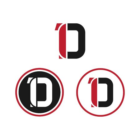 vector illustration number 1 and letter d with circle icon logo design