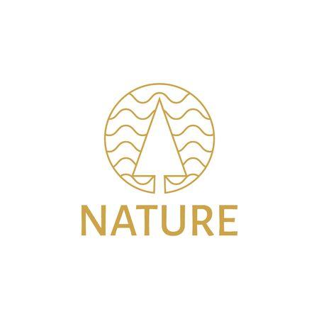 vector illustration tree mono line logo icon gold color