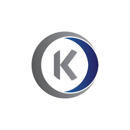 vector illustration initial letter k and circle icon logo modern design