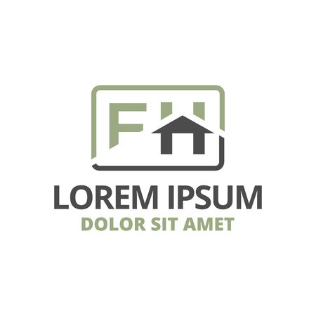 vector illustration initial letter f and h with roof icon logo construction design solid color Vettoriali